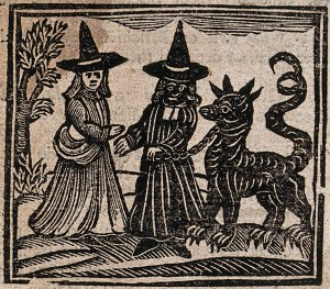 Witchcraft: a white-faced witch meeting a black-faced witch Credit: Wellcome Library, London. Wellcome Images images@wellcome.ac.uk http://wellcomeimages.org Witchcraft: a white-faced witch meeting a black-faced witch with a great beast. Woodcut, 1720. 1720 Published:  -  Copyrighted work available under Creative Commons Attribution only licence CC BY 4.0 http://creativecommons.org/licenses/by/4.0/