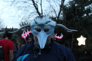 Masked Figure at Krampuslauf Philadelphia 2015 (photo by M. Sellers)