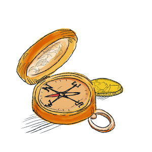 Illustration of sailor's compass next to a gold coin