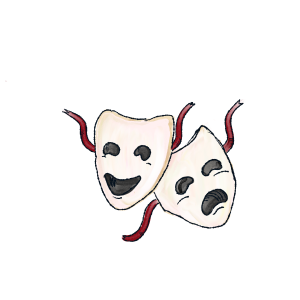 Illustration for drama and comedy masks